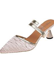 baratos -Mulheres Sapatos Couro Ecológico Verão Outono Chanel Conforto Sandálias Caminhada Calcanhar Heterotípico Dedo Fechado Dedo Apontado para