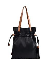 abordables -Femme Sacs Similicuir Mini Sac de Poignet Gland Géométrique Noir