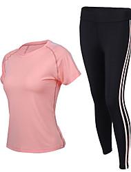 economico -Per donna Girocollo T-shirt e pantaloni da corsa - Grigio, Fucsia, Rosa Gli sport Set di vestiti Manica corta Abbigliamento sportivo