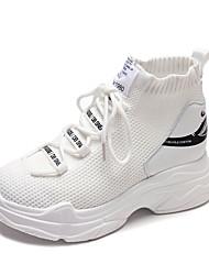 abordables -Femme Chaussures Grille respirante / Toile Automne Confort Basket Marche Creepers Bout rond pour Bureau et carrière Blanc / Noir