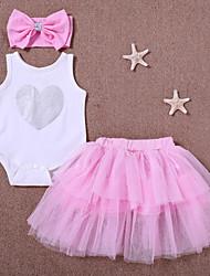 abordables -bébé Fille Actif Quotidien Imprimé Sans Manches Longue Coton / Polyester Ensemble de Vêtements Blanc / Bébé
