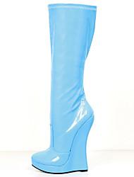 お買い得  -女性用 靴 PUレザー 秋冬 ファッションブーツ / アイデア ブーツ ウエッジヒール ラウンドトウ ニーハイブーツ のために パーティー ホワイト / ライトブルー