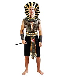 cheap -Egyptian Costume Costume Men's Halloween Carnival New Year Festival / Holiday Halloween Costumes Outfits Golden Solid Colored Striped Halloween Halloween