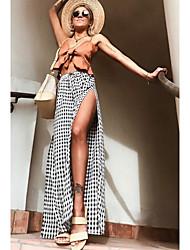 baratos -Mulheres Fofo Moda de Rua Perna larga Calças - Houndstooth