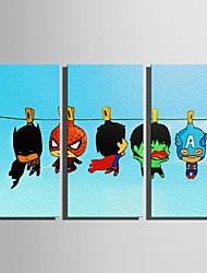 abordables -Imprimé Impressions sur toile roulées - Bande dessinée Super-Héros et Méchants Moderne Trois Panneaux