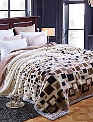 Недорогие -Коралловый флис, С принтом Геометрический принт Полиэстер одеяла