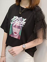 baratos -Mulheres Tamanhos Grandes Camiseta Letra / Retrato Algodão