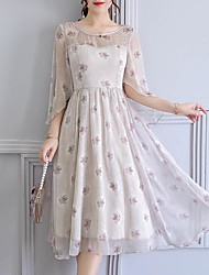 cheap -Women's Plus Size Holiday / Going out Vintage / Sophisticated Slim Sheath / Chiffon Dress - Floral Print / Summer