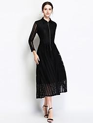 baratos -Mulheres Para Noite Vintage / Sofisticado Delgado Evasê Vestido - Renda / Patchwork, Sólido Colarinho de Camisa Cintura Alta Médio