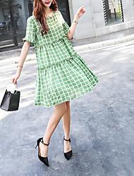 baratos -Mulheres Moda de Rua Evasê Vestido Acima do Joelho
