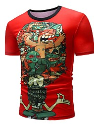 baratos -Homens Camiseta Básico Estampado, Estampa Colorida / Retrato