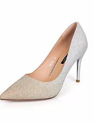 preiswerte -Damen Schuhe Paillette Herbst Pumps Komfort High Heels Stöckelabsatz für Normal Gold Silber