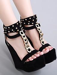 preiswerte -Damen Schuhe Nubukleder Sommer Komfort Sandalen Keilabsatz Schwarz / Keilabsätze
