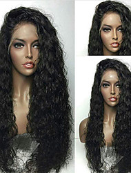cheap -Remy Human Hair Lace Front Wig Wig Brazilian Hair / Water Wave Wavy 130% Density With Baby Hair / Natural Hairline / African American Wig Women's Short / Long / Mid Length Human Hair Lace Wig