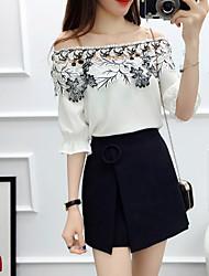 baratos -Mulheres Blusa Sólido / Floral Saia
