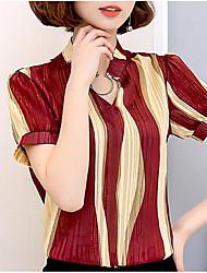 abordables -Mujer Vintage Borla Camiseta Cuadrícula Negro y Rojo