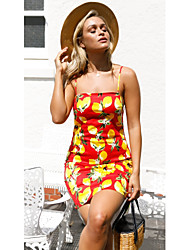 cheap -Women's Going out Slim Sheath Dress - Fruit Lemon, Print Mini Strap / Summer