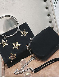 cheap -Women's Bags Suede Bag Set 2 Pieces Purse Set Embroidery for Going out Black