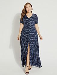 cheap -TS - Sweet Curve Women's Boho Swing Dress - Polka Dot High Waist Maxi V Neck