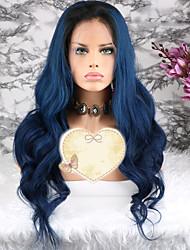 baratos -Cabelo Remy Peruca Cabelo Brasileiro Ondulado Corte em Camadas 130% Densidade Com Baby Hair / 100% Virgem Azul Curto / Longo /