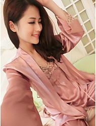 baratos -Mulheres Decote V Conjunto Cetim & Renda Pijamas Sólido