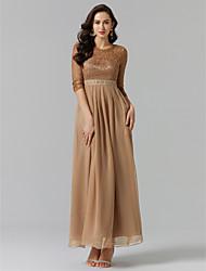 billige -A-linje Høj halset Gulvlang Chiffon / Blondelukning Kjole til brudens mor med Perlearbejde / Blonde ved TS Couture®