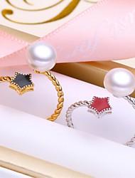 abordables -Mujer Perlas de agua dulce Anillo de banda / Anillo abierto - S925 Sterling Silver, Perlas de agua dulce Básico 8 Dorado / Plata Para Enamorado / Festival