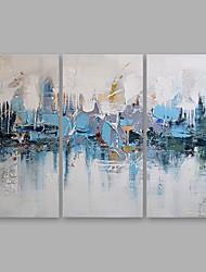 baratos -Pintura a Óleo Pintados à mão - Abstrato Modern Incluir moldura interna / 3 Painéis / Lona esticada