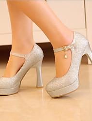 preiswerte -Damen Schuhe PU Frühling Pumps High Heels Blockabsatz Runde Zehe Gold / Silber / Rot / Party & Festivität