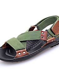 baratos -Homens sapatos Lona Verão Conforto Sandálias para Ao ar livre Preto Marron Verde Tropa Verde Escuro
