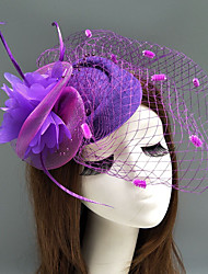cheap -Feather / Net Fascinators / Hats / Headwear with Feather / Floral / Flower 1pc Wedding / Special Occasion Headpiece