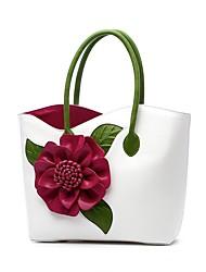 baratos -Mulheres Bolsas PU Tote Apliques / Flor Floral Vermelho / Roxo / Fúcsia