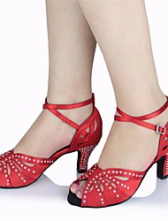 cheap -Women's Latin Shoes Silk Heel Stiletto Heel Dance Shoes Red / Performance / Leather / Practice