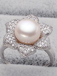 cheap -Women's Freshwater Pearl Band Ring - Pearl, S925 Sterling Silver, Freshwater Pearl Flower Natural, Fashion Adjustable Silver For Birthday / Daily