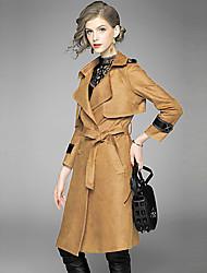 baratos -Mulheres Casaco Longo Sofisticado Moda de Rua - Sólido Colarinho de Camisa