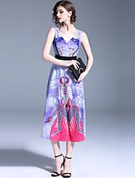 Недорогие -Жен. Изысканный Уличный стиль А-силуэт С летящей юбкой Платье - Абстракция, С принтом Средней длины