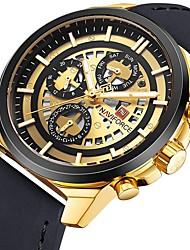 Недорогие -Муж. Спортивные часы Японский Календарь / Секундомер / Защита от влаги Кожа Группа Роскошь Черный / Коричневый / Серый / Крупный циферблат / Два года / Sony SR626SW + CR2025