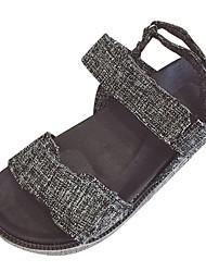 povoljno -Žene Cipele PU Ljeto Udobne cipele Sandale Niska potpetica Okrugli Toe za Vanjski Crn / Bež