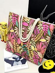baratos -Mulheres Bolsas Tela de pintura Bolsa de Ombro Ziper Rosa / Amarelo / Marron