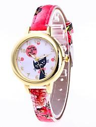 baratos -Mulheres Relógio de Pulso Chinês Relógio Casual / Adorável PU Banda Desenho / Fashion Preta / Branco / Vermelho / Um ano