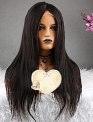 baratos -Cabelo Remy Peruca Cabelo Brasileiro Liso Corte em Camadas 130% Densidade Com Baby Hair Natural Curto / Longo / Comprimento médio Mulheres