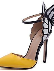 preiswerte -Damen Schuhe Lackleder Sommer Herbst Pumps Komfort High Heels Stöckelabsatz für Normal Party & Festivität Purpur Gelb