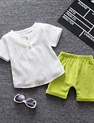 Недорогие -Дети (1-4 лет) Мальчики Кот Однотонный С короткими рукавами Набор одежды