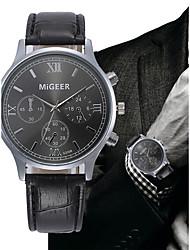 Недорогие -Муж. Кварцевый Наручные часы Китайский Секундомер Кожа Группа Elegant Кольцеобразный Черный Коричневый
