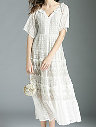cheap -Women's Boho A Line Dress - Solid Colored Lace