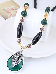Недорогие -Длиные Ожерелья с подвесками / длинное ожерелье - Резина Свисающие Дамы, Винтаж, европейский, Мода Темно-зеленый 78 cm Ожерелье Бижутерия Назначение Повседневные
