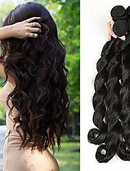 cheap -Brazilian Hair / Loose Wave Wavy One Pack Solution 4 Bundles Human Hair Weaves Waterfall / Hot Sale / Safety Natural Black Human Hair Extensions Women's