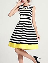 cheap -Women's Simple Slim Sheath Dress - Striped / Summer