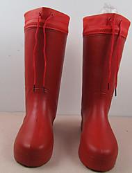 baratos -Mulheres Sapatos PVC Outono & inverno Botas de Chuva Botas Caminhada Sem Salto Dedo Fechado Botas Cano Médio Vermelho