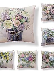 baratos -6 pçs Téxtil / Algodão / Linho Fronha, Floral / Art Deco / Estampado Forma Quadrada / Tom / Decoração